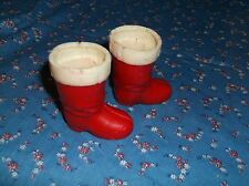 ksm. Two Red White Boot Christmas Candy Containers Feel Waxy 2 1/8 Inch High