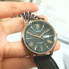 Casio Men's Rose Tone Leather Band Day Date Roman Black Dial Watch MTP-1384L-1AV