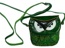 Real Leather Cross Body Mini Shoulder Bag, Green Owl Face Cover, Zip Closure