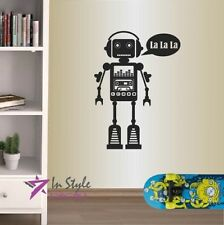 Wall Vinyl Decal Funny Music Robot Cyborg Singing Cassette Boy Room Sticker 1476