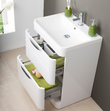 600mm White Gloss Floor Standing 2 drawer vanity unit