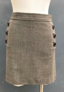 BANANA REPUBLIC STRETCH WOMEN'S CHOCOLATE BROWN/IVORY TWEED A-LINE SKIRT SIZE 12