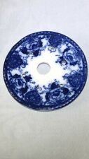 """ANTIQUE FLOW BLUE ROUND COVERED BUTTER DISH """"LINER"""" 4 1/2"""" BEAUTIFUL!"""