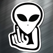 (1) Alien Middle finger Sticker Auto Race Car Drift JDM Decal Euro Tuner Boost