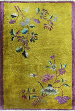 "Antique Art Deco Chinese Rug 2' x 2'10"" Gold, #17131"