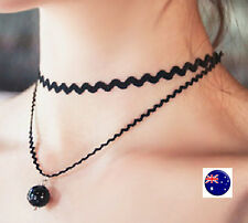 Women Lady Girls retro Black Double layers Pearl Choker short Punk Necklace