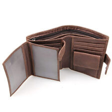 RFID Men's Cowhide Leather Bifold Wallet Credit/ID Card Holder Purse Money Clip