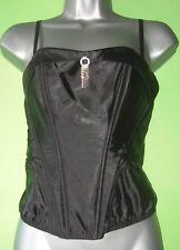 Black wetlook satin feel plastic boned corset top with diamante detail size 10