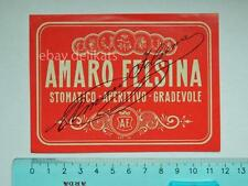 Vecchia etichetta old label vino wine liquore AMARO FELSINEA Bologna Belloni