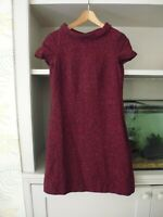 HOBBS 'ABINGDON' DRESS - BURGUNDY RED SPECKLED - WOOL BLEND - COWL NECK - UK 8