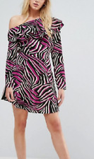 ASOS Skater Dress Size 12 Pink And Black Animal Print With Long Sleeves