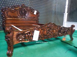 6' Super King size Dark Mahogany French style Mahogany oriental Rococo bed