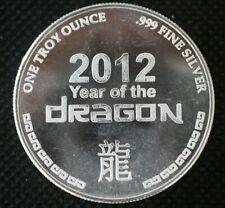 1 oz .999 Fine Silver Round Year Of The Dragon 2012 Art Round