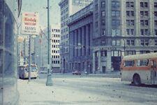 STREET IN MONTREAL ,CANADA OLD BUSES VINTAGE  35MM SLIDE