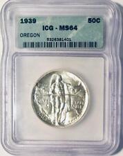 1939 Oregon Trail Commemorative Silver Half Dollar - ICG MS-64 - Low Mintage
