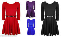 NEW GIRLS LONG SLEEVE PLAIN SKATER DRESS UP WITH BELT AGES 7/8 9/10 11/12 & 13