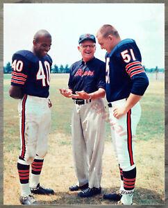 NFL Chicago Bears Gale Sayers George Halas Dick Butkus Color 8 X 10 Photo Pic