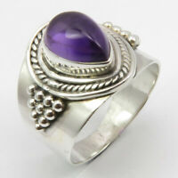 AMETHYST Ring # 5.5 925 Sterling Silver Fashion Handmade Jewelry