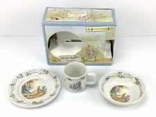 Vintage Wedgwood Plate Bowl & Cup Peter Rabbit Christening Porcelain England