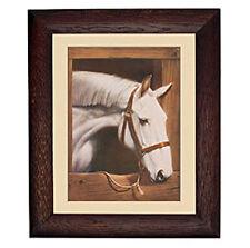 Old Dobbin Horse in Stall Rustic Frame Equestrian Mural Wall Barn Sticker Decal