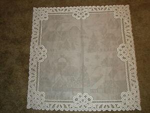 Lace Table Topper White Christmas Battenburg design  30 x 30