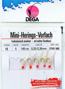 DEGA Heringsvorfach MINI echte Fischhaut 5 Haken #12 Heringspaternoster