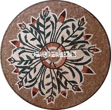 30'' Round Mosaic Coffee Top Table Pietradure Work Inlay Furniture Garden Decor