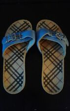 Women's BURBERRY Wooden Clog Sandals Plaid Leather Blue Original. EU 40 US 9