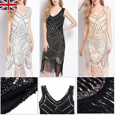 Women Gatsby Flapper 1920s Beaded Vintage Fringe Sequin Sleeveless Party Dress