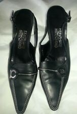 Salvatore Ferragamo Black Leather Sling-back Pumps, Low Heel -9-1/2 B Authentic