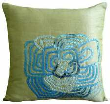 Couch Pillowcase Dull Lime Green Decorative 22x22 inch, Silk - Turquoise Bloom