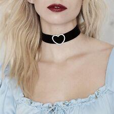 Heart Black Choker Necklace Set Crystal Buckle Women New Silver Tone