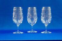 "3 RALPH LAUREN RED PAGODA CRYSTAL GLASSES 8"""