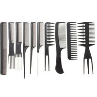 10Pcs Pro Black Salon Hair Styling Hairdressing Plastic Barbers Brush Combs Set