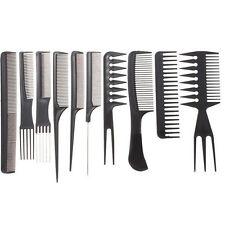 10Pcs Pro Black Salon Hair Styling Hairdressing Plastic Barbers Brush Combs Set