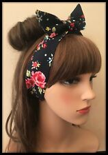 Floral Fabric Blue Roses Fabric Hair Tie Band Headband Bandana Scarf Hairband