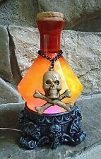 HALLOWEEN ORANGE YELLOW Skull & Crossbones Potion Bottle Lights Motion Snowglobe