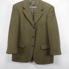 Three Button Mens Jeffrey Banks Herringbone Wool Sport Coat Jacket 40S Tan