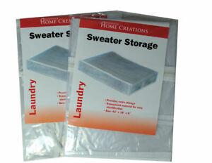 Sweater Storage Bags Lot of 2 Transparent Closet Organizer Space Saver Zipper