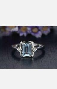 2Ct Emerald Cut Blue Aquamarine & Diamond Engagement Ring 14K White Gold Finish