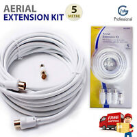 5m TV Aerial Extension Kit Coaxical Cable Lead 2 WAY Splitter Free view Digital