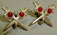 "Vintage 1950's-60's Red Cabochon Crossed Swords Brass Screw Back 1"" Earrings"
