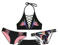 Victoria's Secret swim set PINK Embroidered Strappy High-Neck high waist bikini
