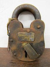 Antique-Finish RUSTIC Alcatraz Numbered Prison Cell Lock Padlock w/Skeleton Keys