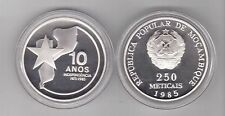MOZAMBIQUE - RARE SILVER PROOF 250 METICAIS 1985 YEAR KM#107 10th INDEPENDENCE