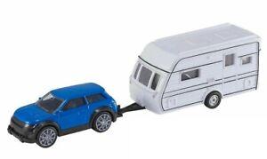 Teamsterz Hti Car And Caravan Camper 4x4 Van Vehicle Truck Blue Color Kids Gift