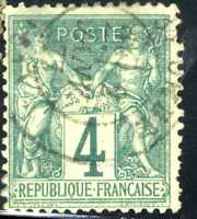 1876-78 FRANCE Green Type Sage SC#66 A15 4c USED