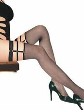 Ladies Net Suspenders Stockings Hold-Ups over the Knee with Rivets Nylon Black