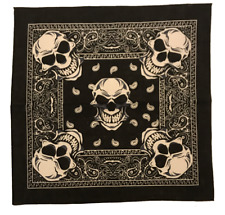 Black Skull Bandanas, 21 x 21,  - 1, 3, 6, 12 pack - Styllion