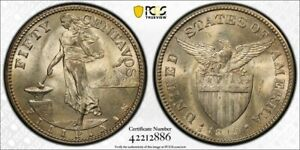 USPI Philippines 1919-S Fifty 50 Centavos PCGS MS 64 Mint State 🌈 Only 8 Higher